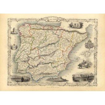 cuadros de mapas, grabados y acuarelas - Cuadro -España y Portugal (1851)- - Mapas antiguos - Anciennes cartes