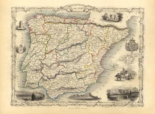 cuadros-de-mapas-grabados-y-acuarelas - Cuadro -España y Portugal (1851)- - Mapas antiguos - Anciennes cartes