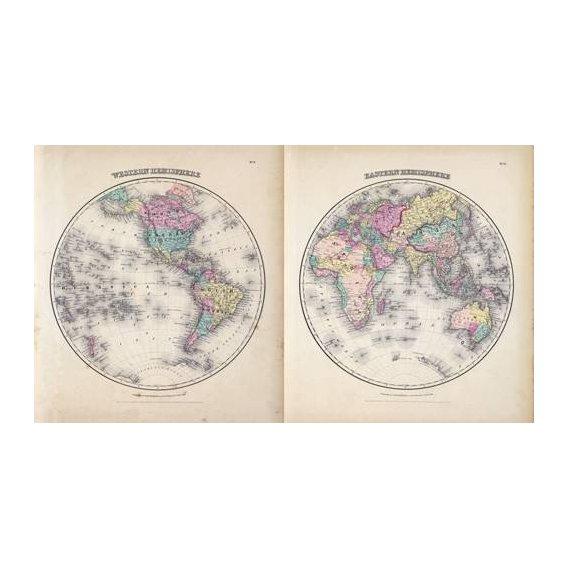 cuadros de mapas, grabados y acuarelas - Cuadro -Hemisferios Este y Oeste (1855)-