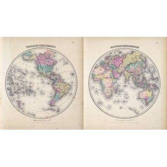 cuadros de mapas, grabados y acuarelas - Cuadro -Hemisferios Este y Oeste (1855)- - Mapas antiguos - Anciennes cartes