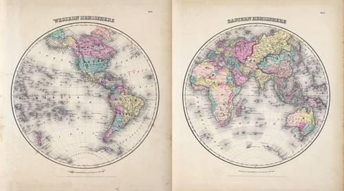 cuadros-de-mapas-grabados-y-acuarelas - Cuadro -Hemisferios Este y Oeste (1855)- - Mapas antiguos - Anciennes cartes