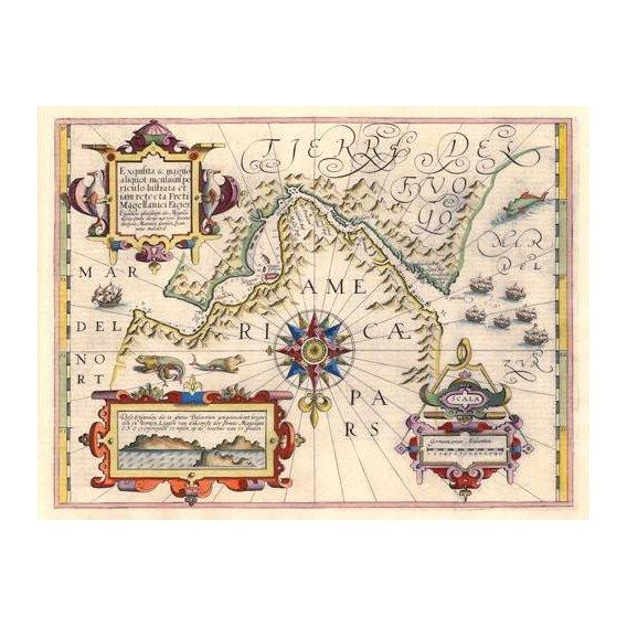 cuadros de mapas, grabados y acuarelas - Cuadro -Estrecho de Magallanes (Jodocus Hondius)-