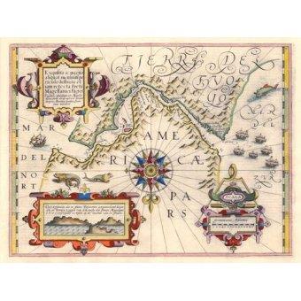 cuadros de mapas, grabados y acuarelas - Cuadro -Estrecho de Magallanes (Jodocus Hondius)- - Mapas antiguos - Anciennes cartes