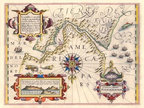 cuadros-de-mapas-grabados-y-acuarelas - Cuadro -Estrecho de Magallanes (Jodocus Hondius)- - Mapas antiguos - Anciennes cartes