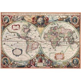 cuadros de mapas, grabados y acuarelas - Cuadro -Nova totius Terrarum Orbis geographica ac hydrographica tabula - Mapas antiguos - Anciennes cartes