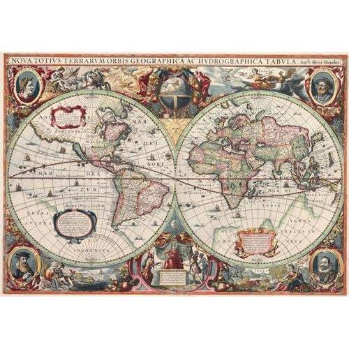 cuadros de mapas, grabados y acuarelas - Cuadro -Nova totius Terrarum Orbis geographica ac hydrographica tabula