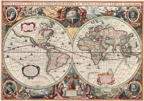 cuadros-de-mapas-grabados-y-acuarelas - Cuadro -Nova totius Terrarum Orbis geographica ac hydrographica tabula - Mapas antiguos - Anciennes cartes