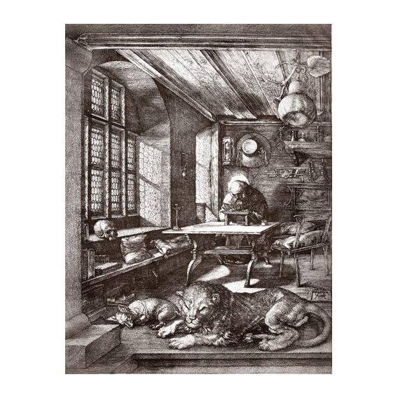 cuadros de mapas, grabados y acuarelas - Cuadro -San Jeronimo en su estudio-