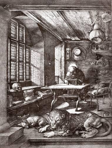 cuadros-de-mapas-grabados-y-acuarelas - Cuadro -San Jeronimo en su estudio- - Dürer, Albrecht (Albert Durer)