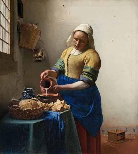 cuadros-de-retrato - Cuadro -The Milkmaid, 1660- - Vermeer, Johannes