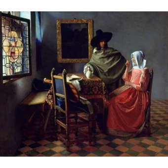 - Cuadro -The Glass of Wine- - Vermeer, Johannes