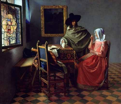 cuadros-de-retrato - Cuadro -The Glass of Wine- - Vermeer, Johannes