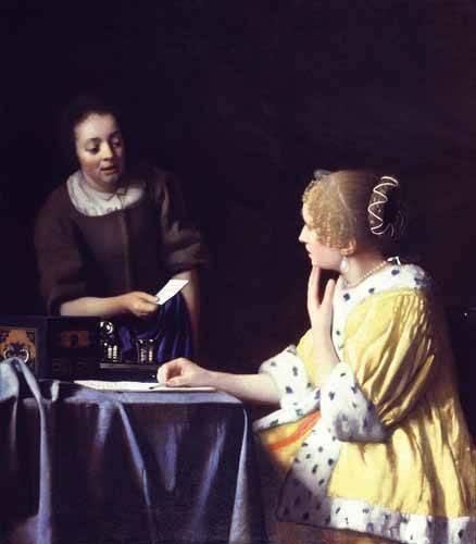 cuadros-de-retrato - Cuadro -Mistress and Maid ca. 1666-1667- - Vermeer, Johannes