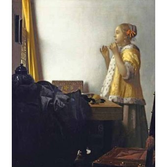 - Cuadro -Young Woman with a Pearl Necklace, 1662- - Vermeer, Johannes