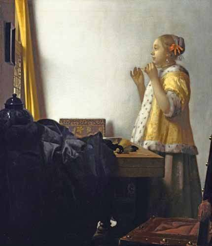 cuadros-de-retrato - Cuadro -Young Woman with a Pearl Necklace, 1662- - Vermeer, Johannes