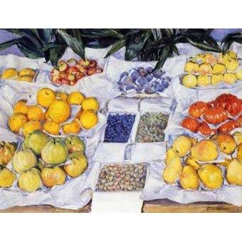 cuadros de bodegones - Cuadro -Fruta expuesta en un mostrador- - Caillebotte, Gustave