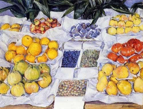 cuadros-decorativos - Cuadro -Fruta expuesta en un mostrador- - Caillebotte, Gustave