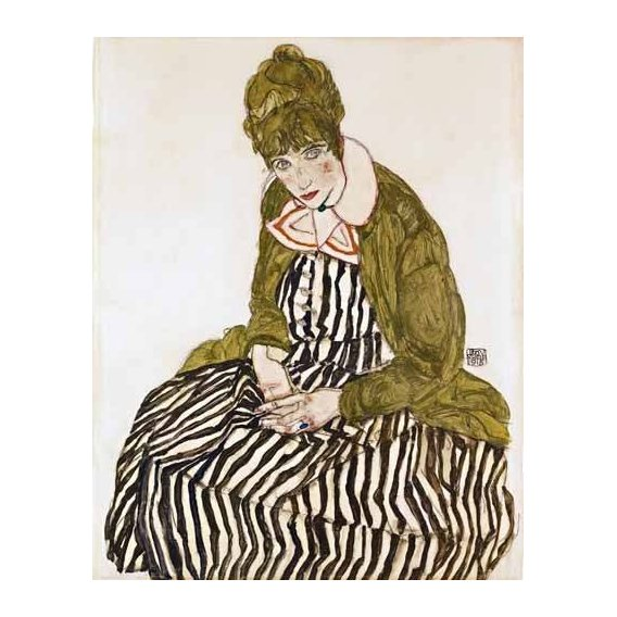 cuadros de retrato - Cuadro -Edith Schiele in Striped Dress, Seated, 1915-