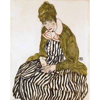 - Cuadro -Edith Schiele in Striped Dress, Seated, 1915- - Schiele, Egon