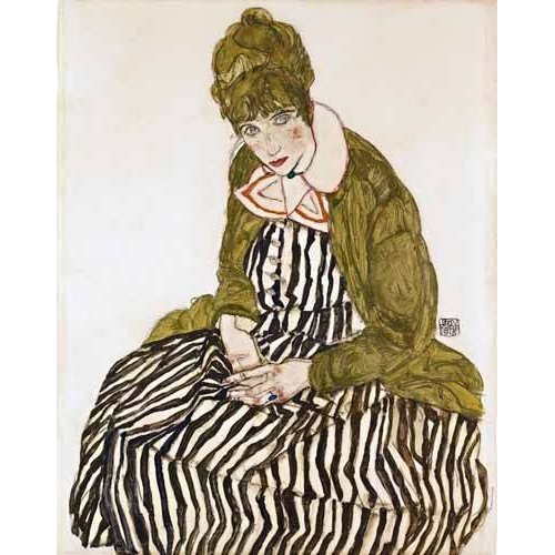 Cuadro -Edith Schiele in Striped Dress, Seated, 1915-