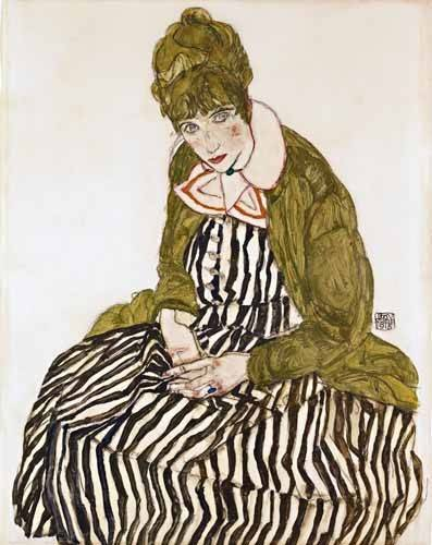 cuadros-de-retrato - Cuadro -Edith Schiele in Striped Dress, Seated, 1915- - Schiele, Egon