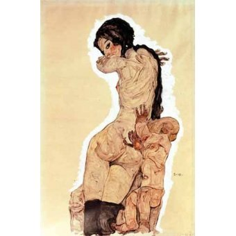 cuadros de desnudos - Cuadro -Mother and Child, 1910- - Schiele, Egon