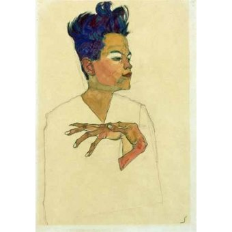 - Cuadro -Self-Portrait with Hands on Chest, 1910- - Schiele, Egon