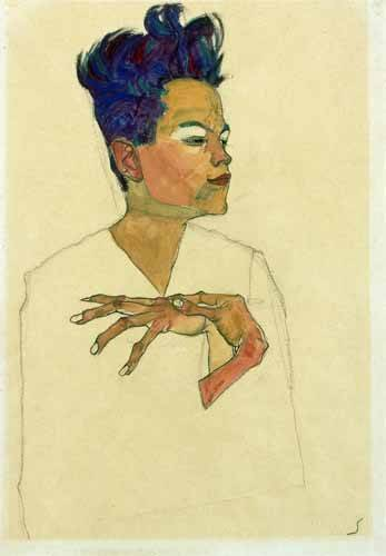 cuadros-de-retrato - Cuadro -Self-Portrait with Hands on Chest, 1910- - Schiele, Egon