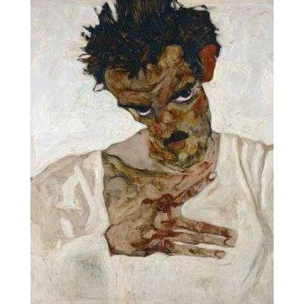 - Cuadro -Self-portrait with Lowered Head, 1912- - Schiele, Egon