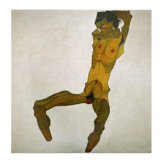 cuadros de retrato - Cuadro -Self-portrait, nude-
