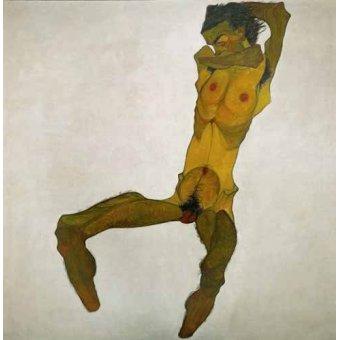 cuadros de desnudos - Cuadro -Self-portrait, nude- - Schiele, Egon
