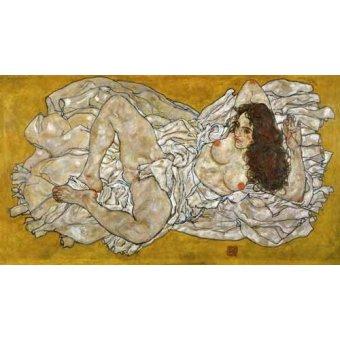 cuadros de desnudos - Cuadro -Liegende Frau- - Schiele, Egon