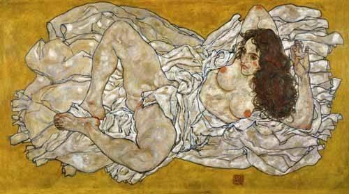 cuadros-de-retrato - Cuadro -Liegende Frau- - Schiele, Egon