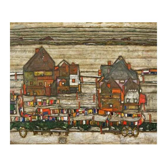 cuadros de paisajes - Cuadro -Houses and Colorful Laundry (Two Blocks of Houses with Clothes-