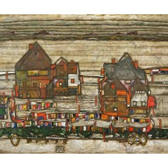Cuadro -Houses and Colorful Laundry (Two Blocks of Houses with Clothes- - Schiele, Egon