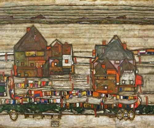 cuadros-de-paisajes - Cuadro -Houses and Colorful Laundry (Two Blocks of Houses with Clothes- - Schiele, Egon