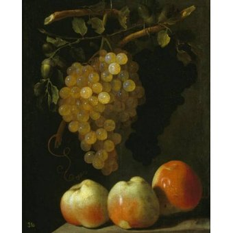 cuadros de bodegones - Cuadro -Bodegon con uvas y manzanas- - Espinosa, Juan Bautista