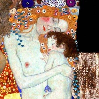 cuadros de retrato - Cuadro -Las tres edades de la vida (detalle cuadrado)- - Klimt, Gustav