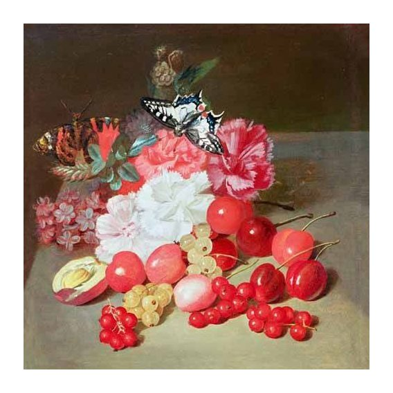 cuadros de bodegones - Cuadro -Bodegon con cerezas y uvas-