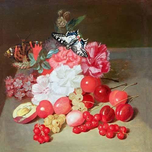cuadros-de-bodegones - Cuadro -Bodegon con cerezas y uvas- - Boilly, Louis Leopold