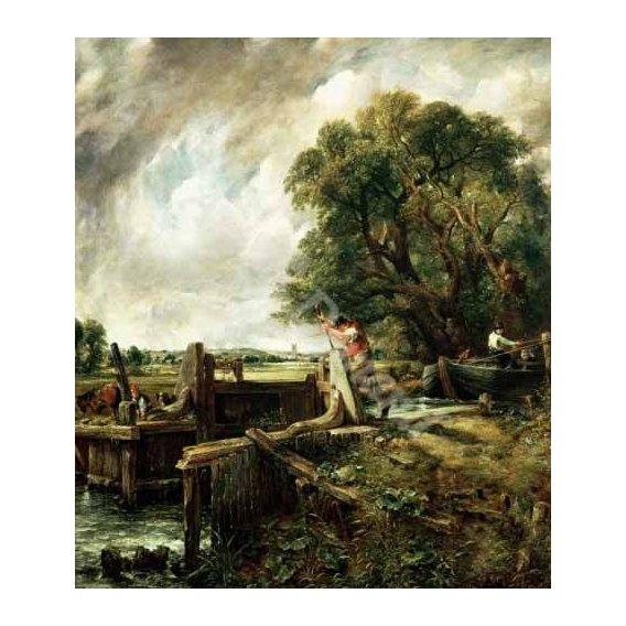 cuadros de paisajes - Cuadro -Barges passing a lock on the Stour (La Presa)-
