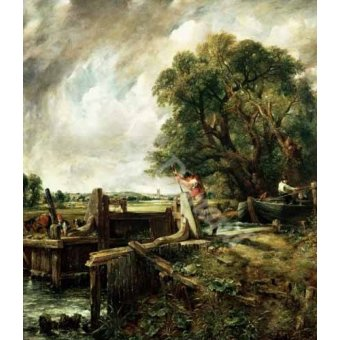 - Cuadro -Barges passing a lock on the Stour (La Presa)- - Constable, John