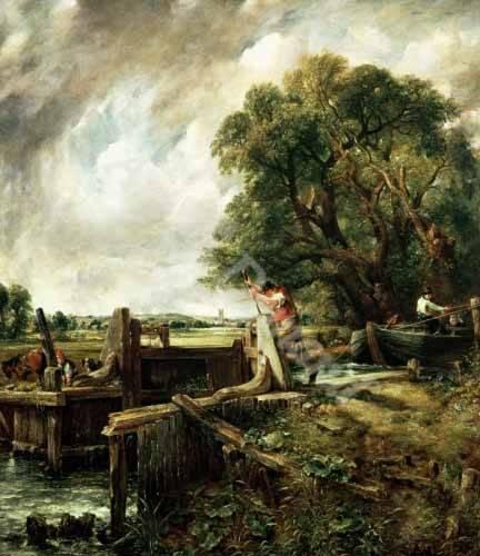 cuadros-de-paisajes - Cuadro -Barges passing a lock on the Stour (La Presa)- - Constable, John