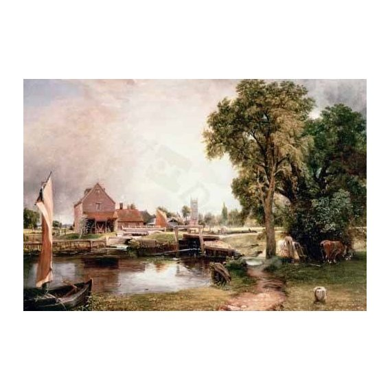 cuadros de paisajes - Cuadro -Dedham Lock and Mill, 1820 (oil on canvas)-