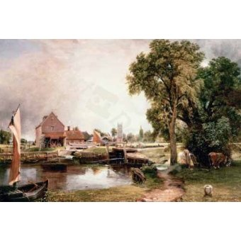 - Cuadro -Dedham Lock and Mill, 1820 (oil on canvas)- - Constable, John