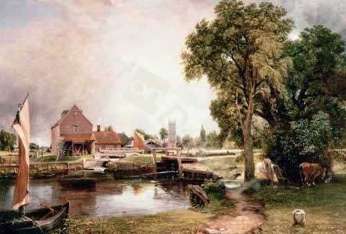 cuadros-de-paisajes - Cuadro -Dedham Lock and Mill, 1820 (oil on canvas)- - Constable, John