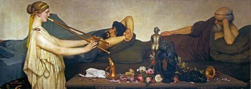 cuadros-de-retrato - Cuadro -La siesta, Escena Pompeyana- - Alma-Tadema, Lawrence
