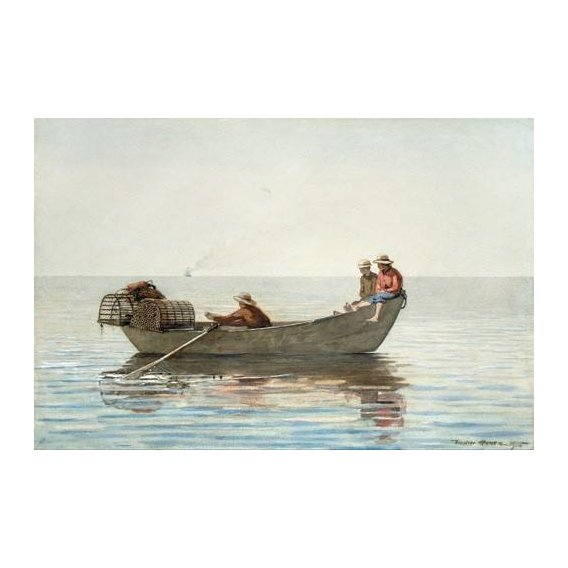 cuadros de mapas, grabados y acuarelas - Cuadro -Three Boys in a Dory with Lobster Pots, 1875-