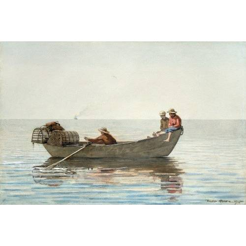 Cuadro -Three Boys in a Dory with Lobster Pots, 1875-