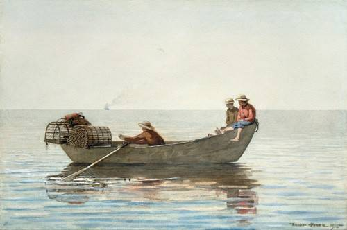 cuadros-de-mapas-grabados-y-acuarelas - Cuadro -Three Boys in a Dory with Lobster Pots, 1875- - Homer, Winslow